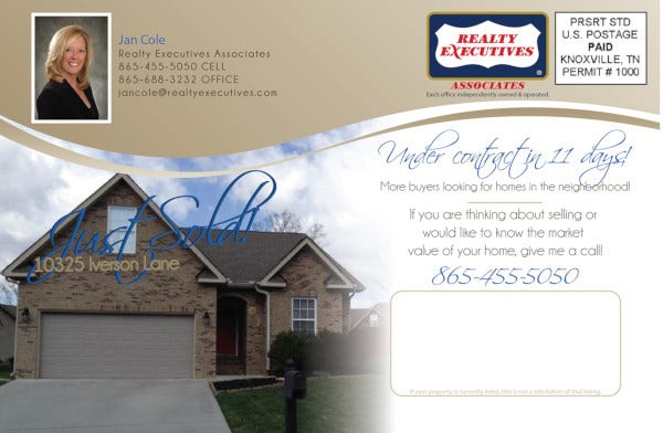 basic real estate just sold postcard