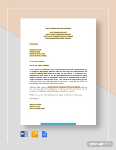 basic real estate quotation template
