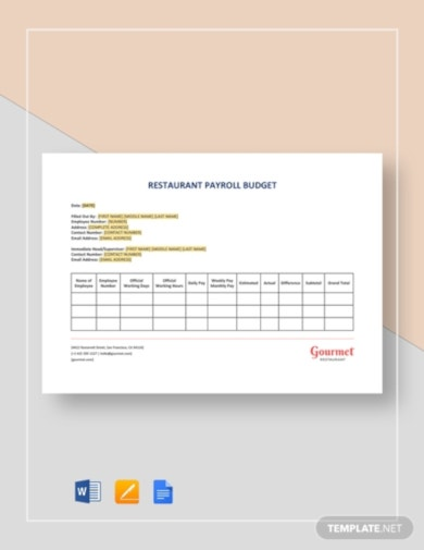 basic restaurant budget template