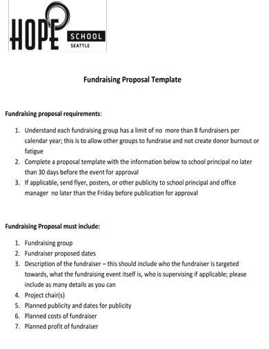 basic school fundraising proposal template