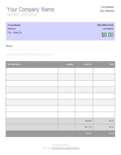 basic simple invoice template