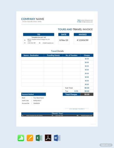 basic tour travel invoice template