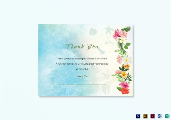 beach thank you note card template