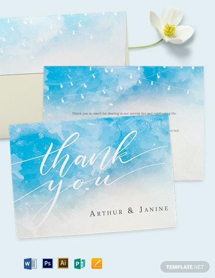 beach wedding thank you note card template