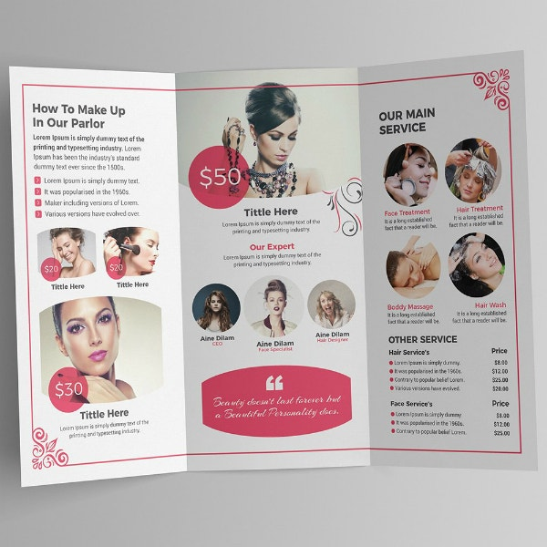 beauty salon barbershop brochure sample