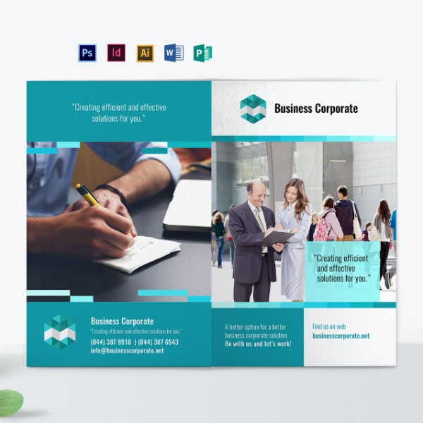 bi fold business event brochure example