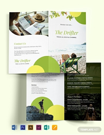 bifold travel ad brochure template