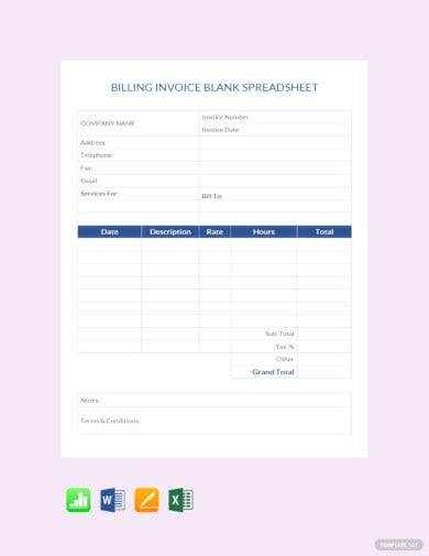 billing invoice blank spreadsheet template