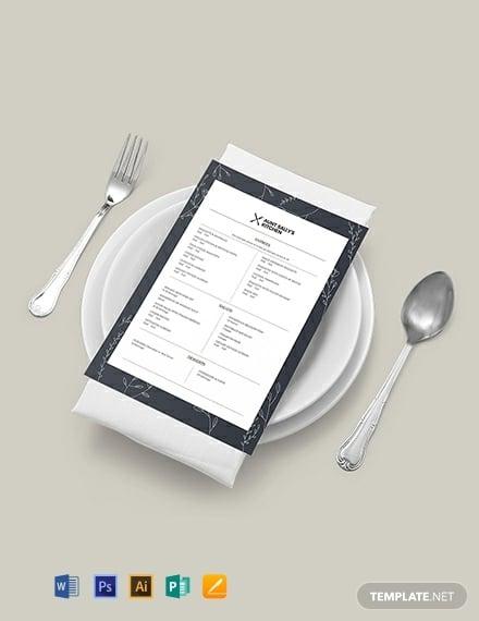 birthday event menu template