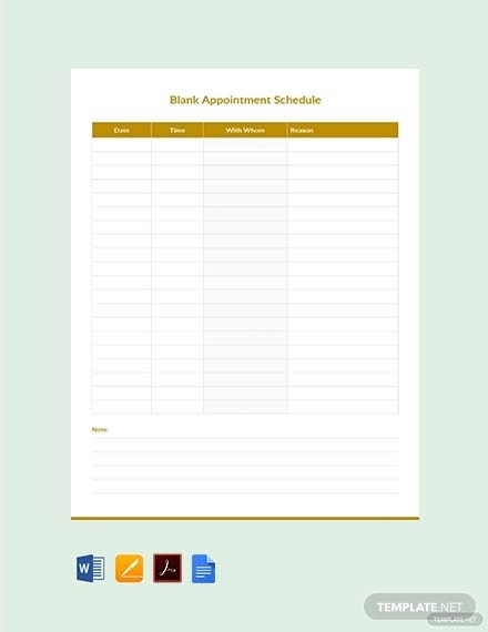blank appointment schedule template