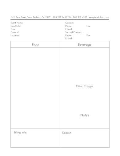 blank banquet event order in pdf