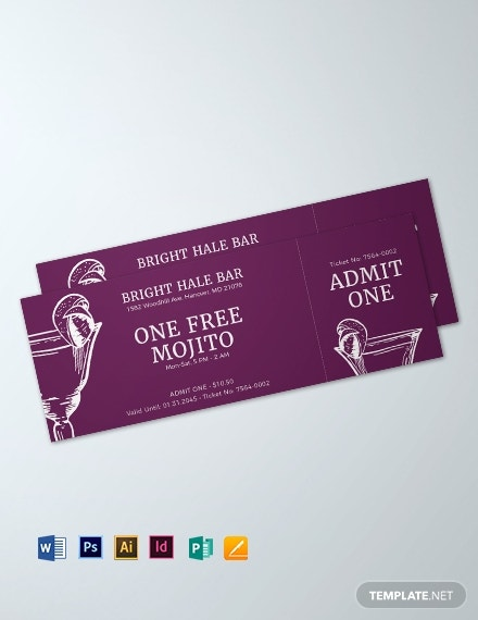 blank drink ticket
