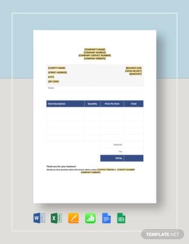 blank job invoice template