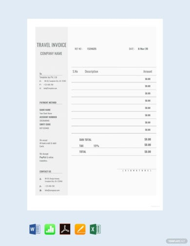 blank travel invoice template