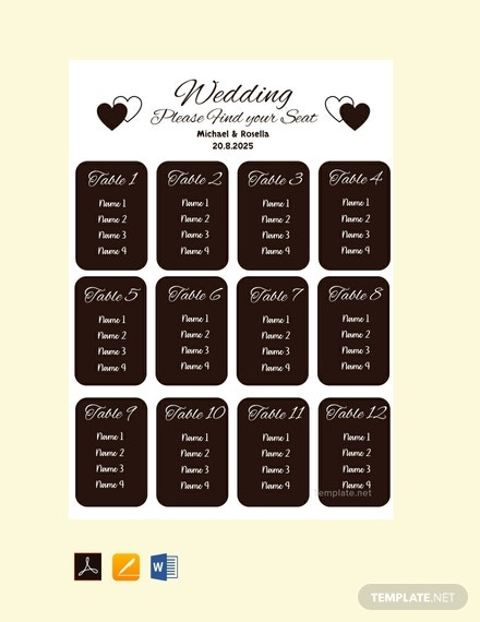blank wedding seating plan template