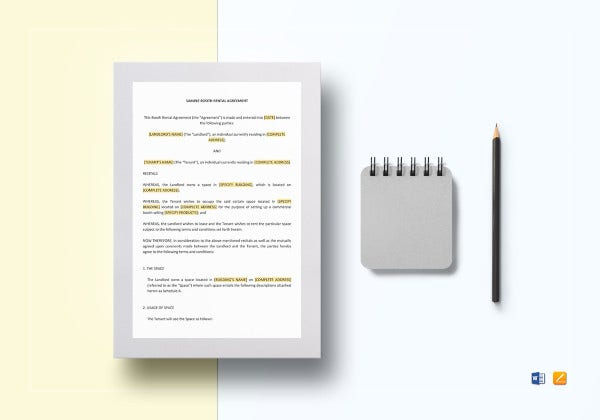 booth rental tenant lease agreement template