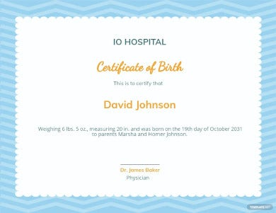 boy birth certificate template