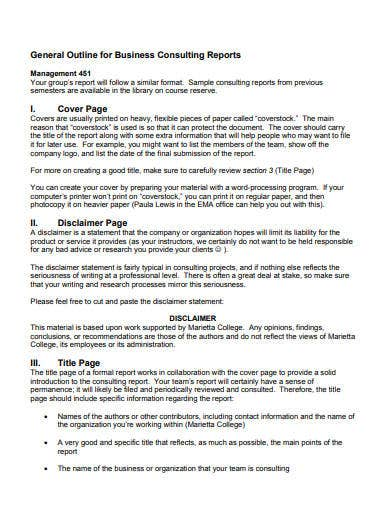 business consulting report template
