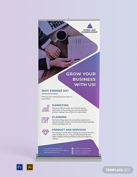 business marketing planning roll up banner