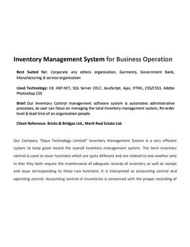 business operation inventory