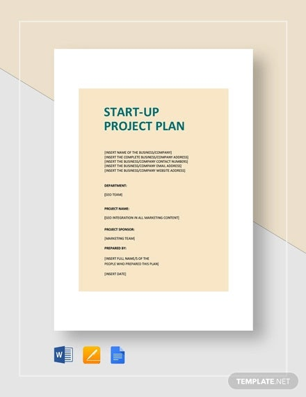 business start up project plan template