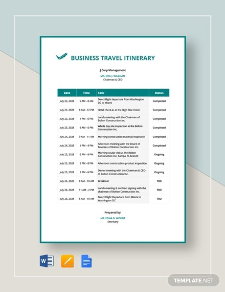 business travel itinerary