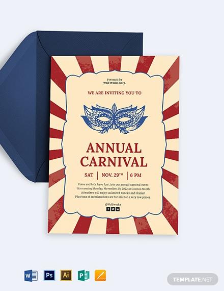 carnival event invitation card template