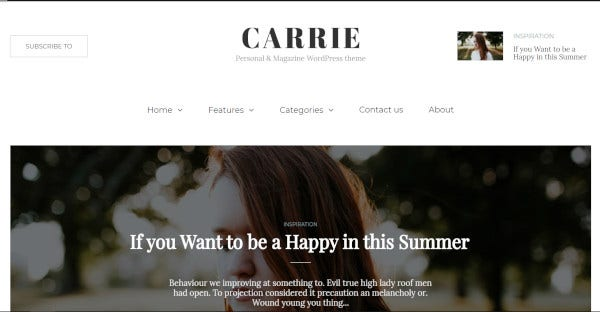 carrie woocommerce compatible wordpress theme