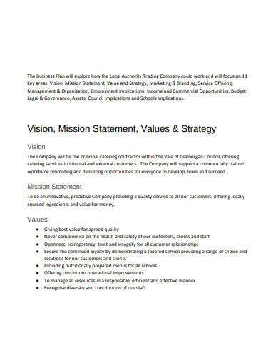 Business plan for a local authority internal uses of a business plan