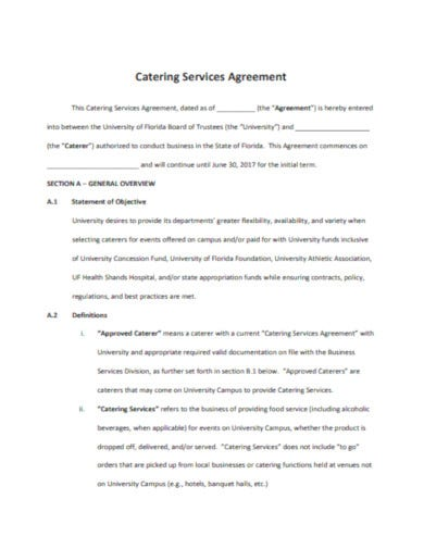 catering service agreement template