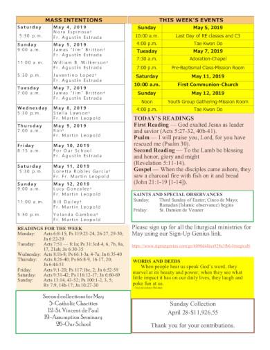 catholic church schedule template