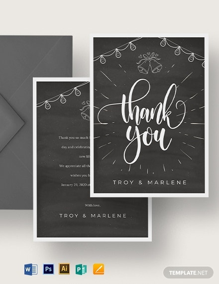 chalkboard wedding thank you note card template