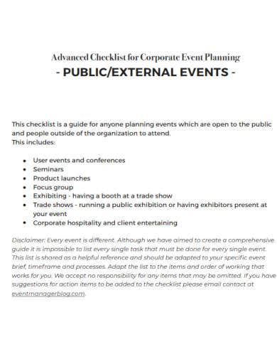 checklist for corporate event planning