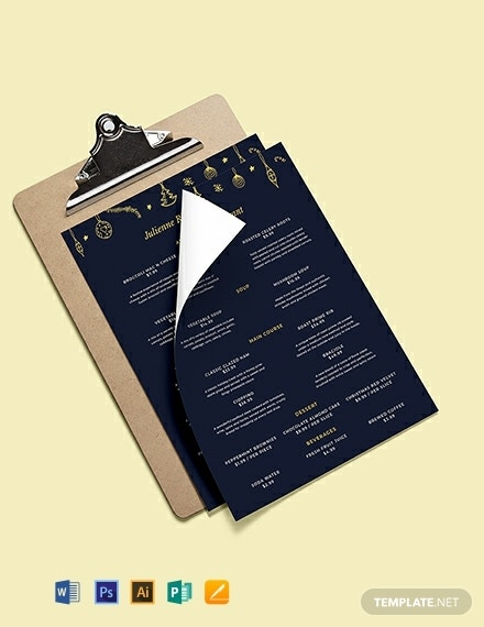 christmas event menu template