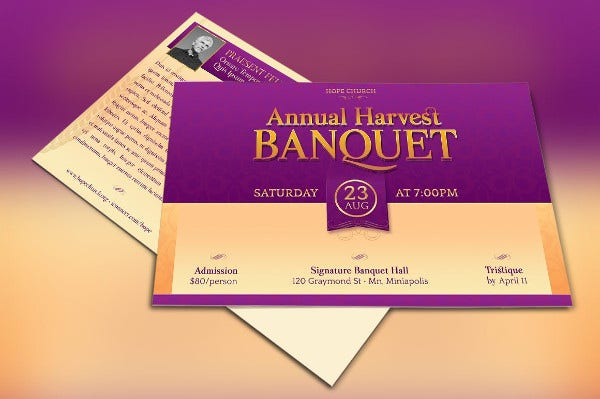 church banquate invitation template