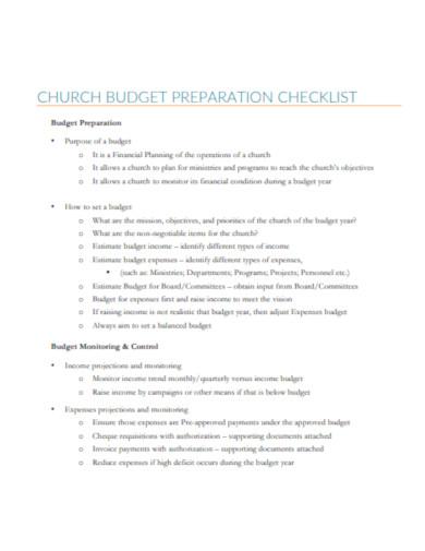 church budget checklist in pdf