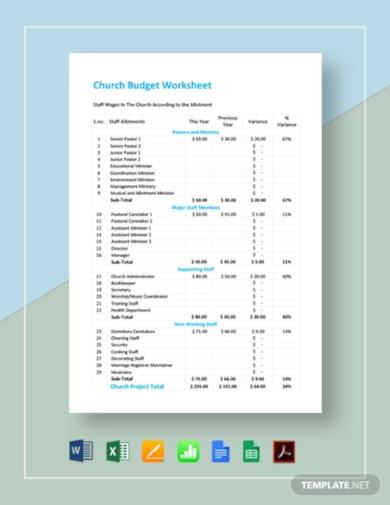 church budget worksheet template1