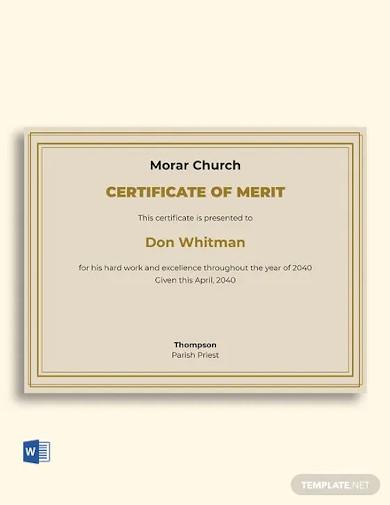 church certificate of merit template