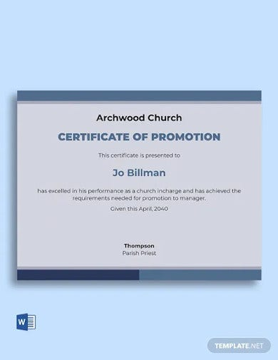 church certificate of promotion template