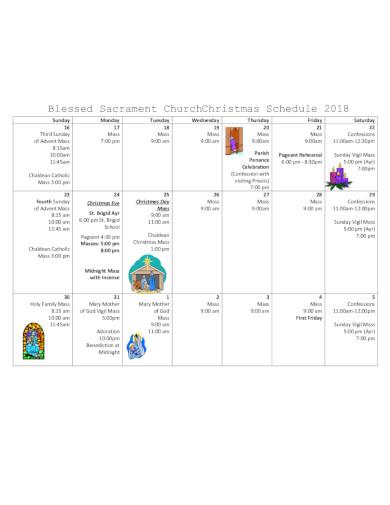 church christmas schedule template