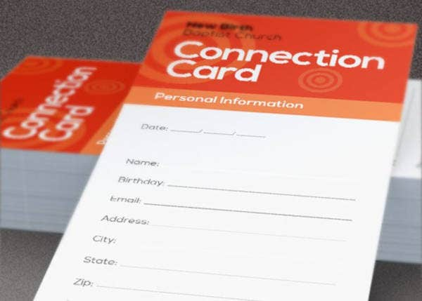 church connection card design template