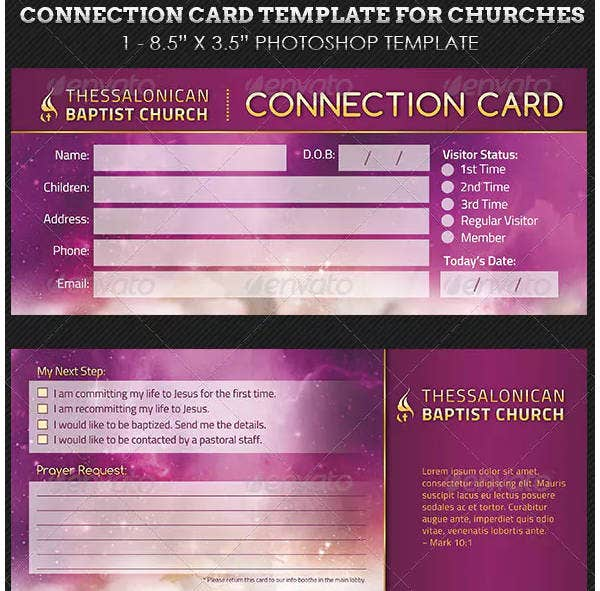 church connection card in psd