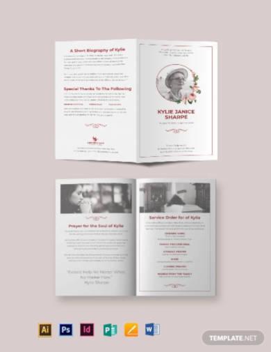 church eulogy funeral bi fold brochure