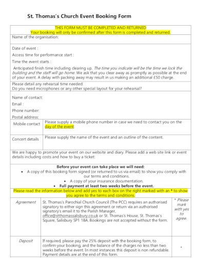 church event booking form in pdf