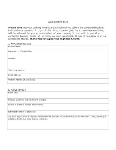 church event booking form