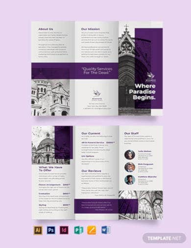 church funeral service tri fold brochure