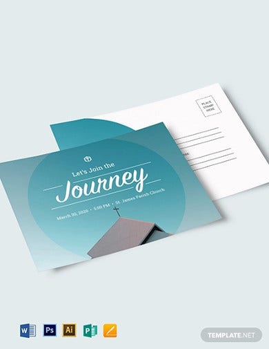 church invitation postcard template1