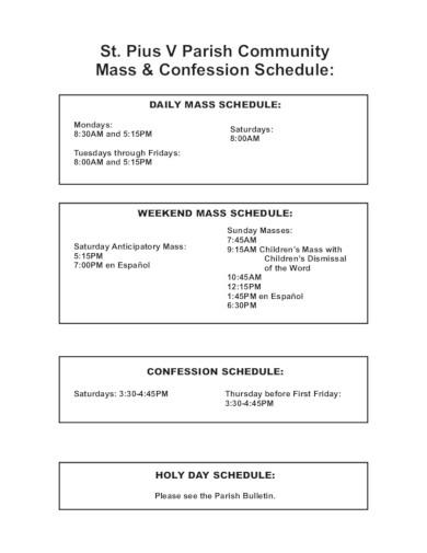 church mass schedule in pdf