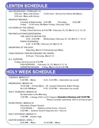 church schedule template