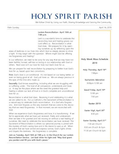 church schedule in pdf